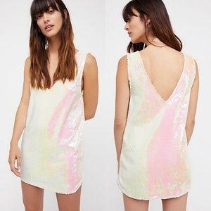 New FREE PEOPLE Embellished Sequin Slip Dress